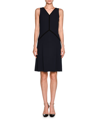 Contrast-Piped Sleeveless Cocktail Dress, Navy/Black