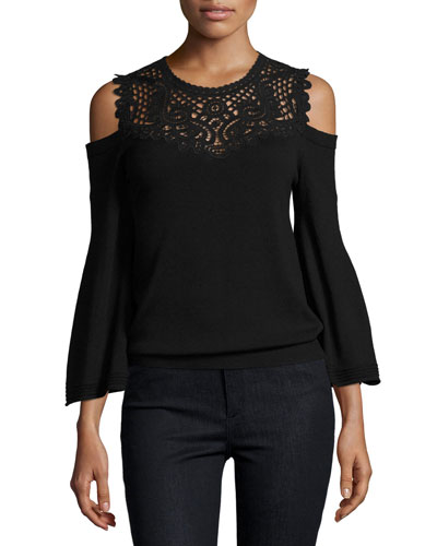 Selena Cold-Shoulder Lace-Yoke Merino Sweater, Black