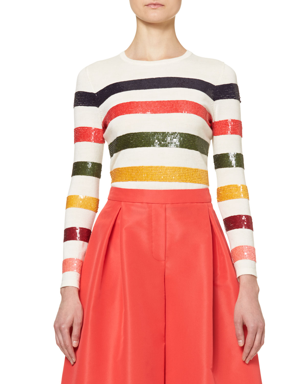 Sequin-Striped Crewneck Sweater, Multicolor