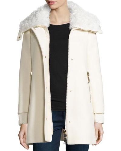 Calipso Wool-Blend Coat w/Fur Collar, Ivory