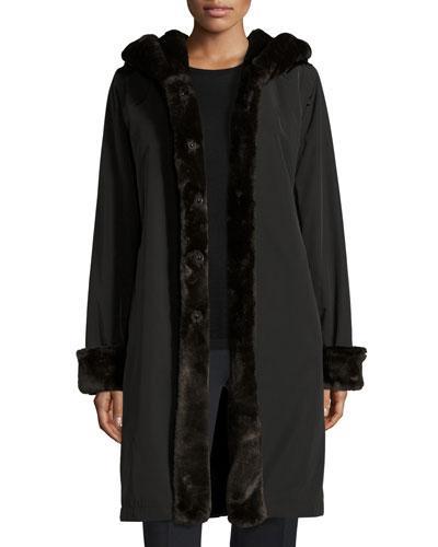 Hooded Faux-Fur-Trim Jacket, Black/Brown