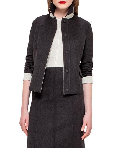 Iwanka Reversible Wool Jacket, Black/Moonstone