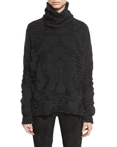 Jacquard Knit Turtleneck Sweater, Gray