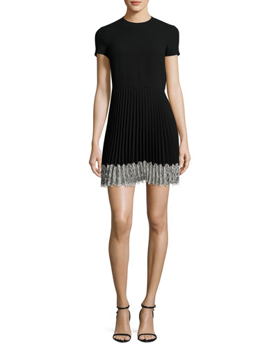 Short-Sleeve Lace-Trim Pleated A-Line Dress, Nero
