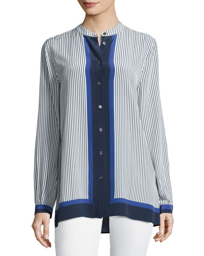 Fisher Striped Colorblock Shirt, Riviera Blue