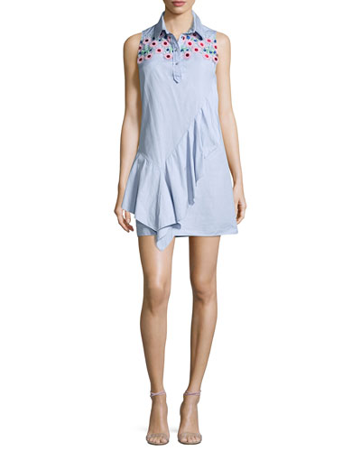 Sleeveless Lace-Yoke Chambray Shirtdress, Sky Blue