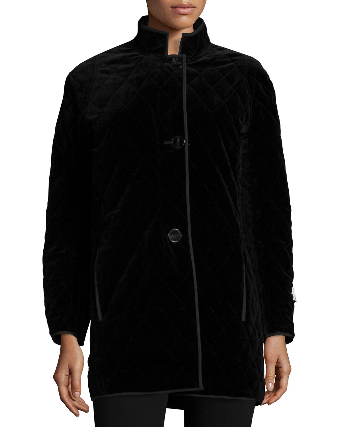 Quilted Velvet Raincoat, Black
