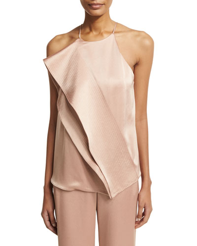 Sleeveless Draped Satin Blouse w/ Topstitching, Light Beige