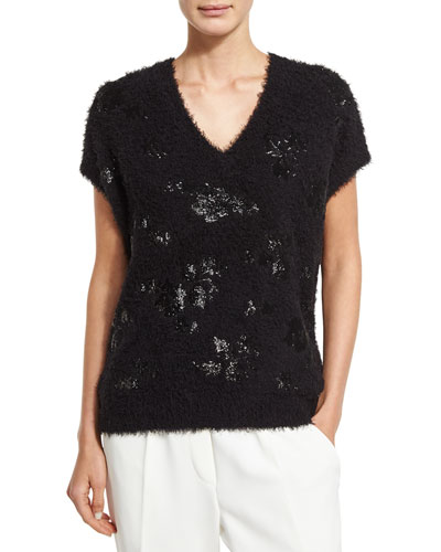 FUZZY FLORAL-SEQUIN SHORT-SLEEVE SWEATER