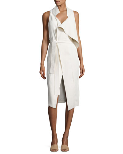 Asymmetric Sleeveless Mock-Neck Draped Dress w/ Sash, Light Beige