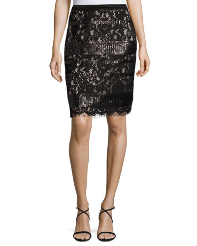 Violet Sequined Lace Pencil Skirt, Black