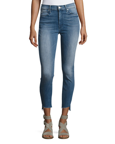 Stunner Zip Ankle Step Fray Jeans, Blue