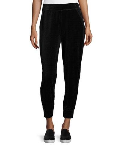 Simone Velour Jogger Pants, Black