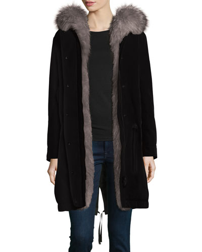 Veronika Fur-Lined Gabardine Coat, Black