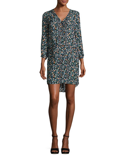 August Pintucked Floral Silk Boho Dress, Black