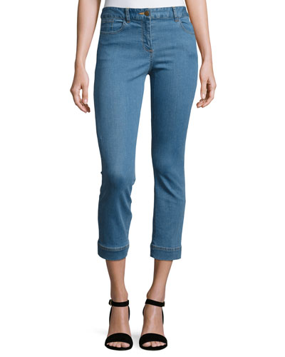Gia Cropped Stretch Denim Jeans, Blue