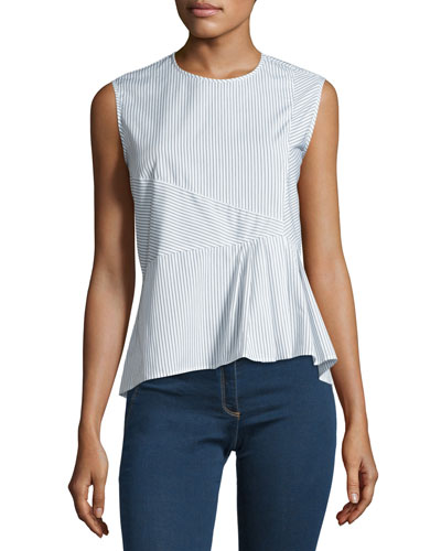 Sleeveless Striped Peplum Shirting Top, Black/White