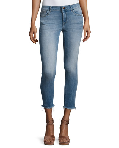 Florence Instasculpt Cropped Skinny Jeans with Raw Hem, Nugget