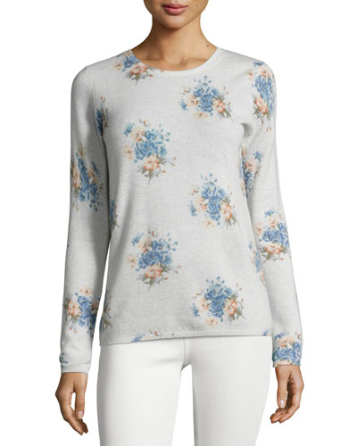 Feronia Cashmere Floral-Print Sweater, Gray