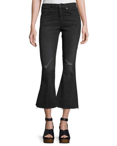 High-Waist Cropped Flare-Leg Jeans, Blackthorne