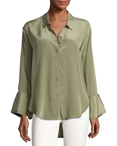 Long-Sleeve Wide-Cuff Washed Silk Shirt, Green