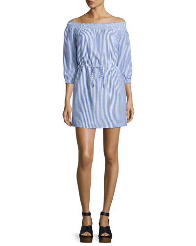 Drew Poplin Off-the-Shoulder Drawstring Dress, Blue/White Stripe