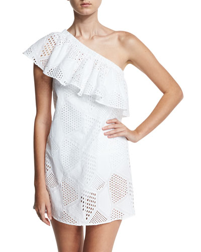 Cotton Eyelet One-Shoulder Coverup Dress, White