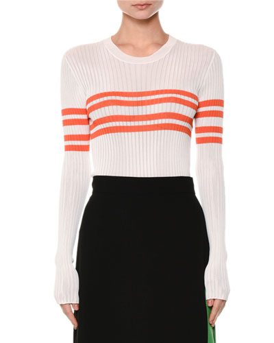 Horizontal-Stripe Ribbed Sweater, White