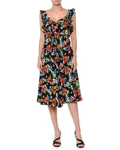 Floral Sleeveless Silk Midi Dress, Multicolor