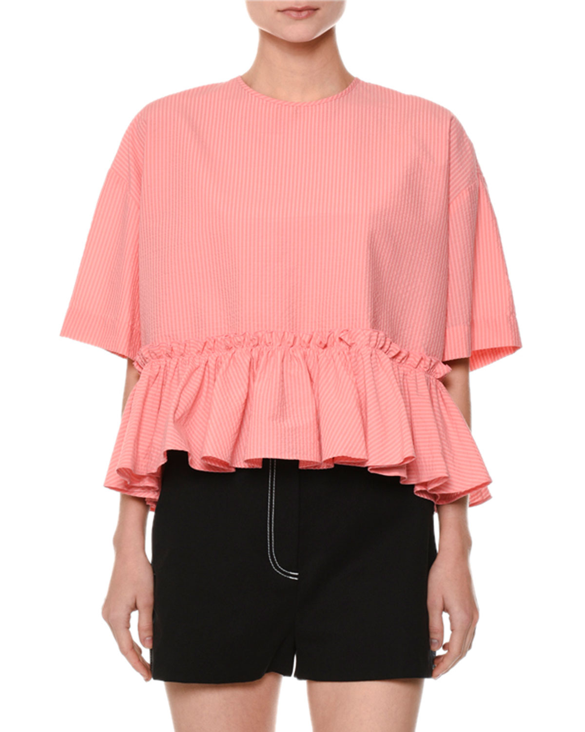 Short-Sleeve Striped Seersucker Ruffle-Hem Blouse, Pink