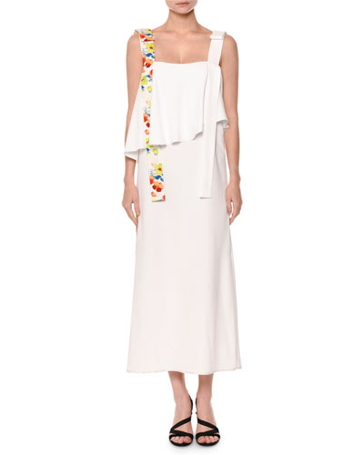 Sleeveless Popover Midi Dress, White