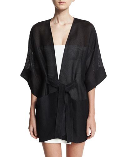 Sheer Kimono Wrap Jacket w/ Topstitched Sash, Black