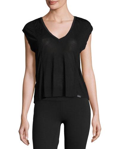 Click Draped-Back Jersey Crop Top, Black