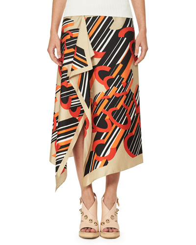 Asymmetric Printed Silk Satin Midi Skirt