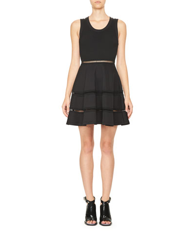 Sleeveless Jersey & Ponte Mini Circle Dress, Black