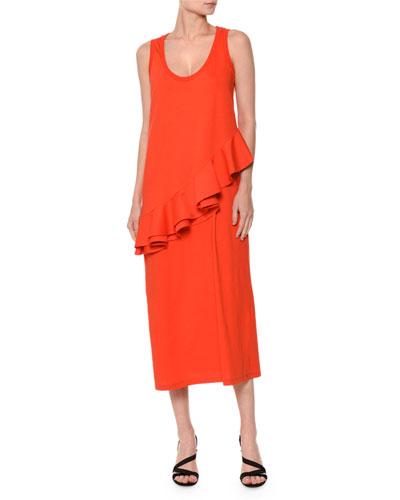 Sleeveless Ruffle-Trim Jersey Midi Dress, Red
