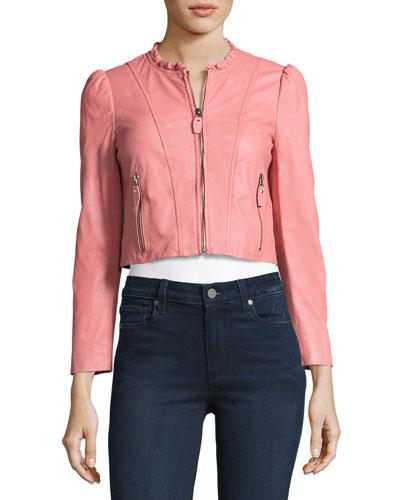 Ruffle-Collar Leather Moto Jacket, Light Pink