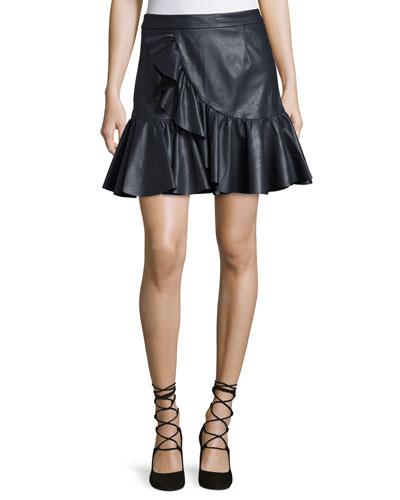 Vegan Leather Ruffle Mini Skirt, Navy