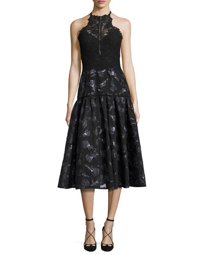 Floral Jacquard Lace Midi Dress, Black Multicolor