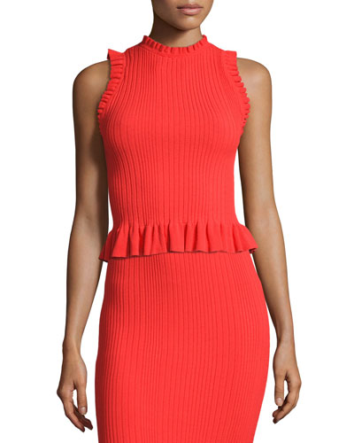 Sleeveless Ribbed Ruffle Top, Coral