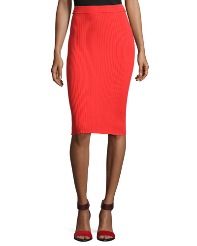 Ribbed Pencil Skirt, Coral