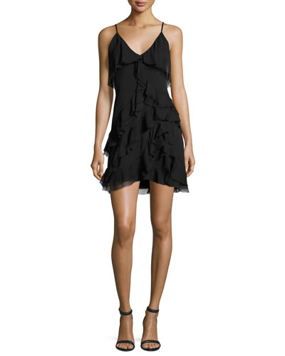 Lavinia Sleeveless Ruffle Mini Dress, Black