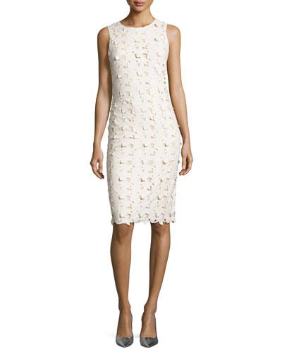 Fey Faux-Leather Lace Sheath Dress, Cream