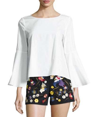 Shirley Flared-Sleeve Top, White