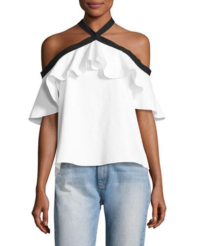 Alyssa Off-the-Shoulder Halter Top, White/Black