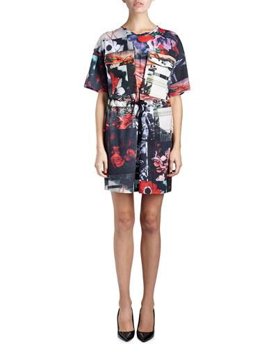 Antonio Still Life Drawstring Jersey Dress, Red/Multicolor