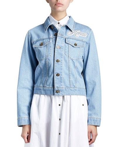 Cotton Denim Logo Jacket, Blue