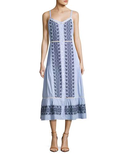 Joni Sleeveless Embroidered Midi Shirtdress, Blue/White