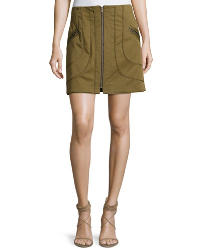 Linda Full-Zip Summer Cargo Skirt, Olive