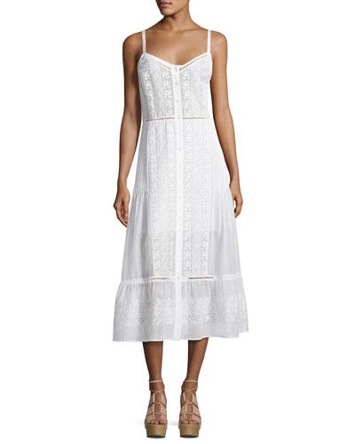 Joni Sleeveless Embroidered Voile Midi Dress, Off White